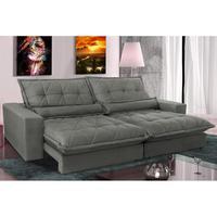 Sofa Retrátil E Reclinável 2,92m Com Molas Ensacadas Cama Inbox Soft Tecido Suede Cinza