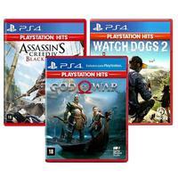 Combo De Jogos Ps4 - God Of War + Assassin´s Creed Iv Black Flag + Watch Dogs 2