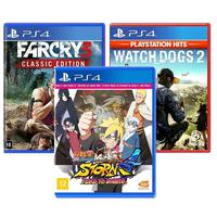 Combo De Jogos Ps4 - Naruto Ultimate Ninja 4 Road To Boruto + Far Cry 3 + Watch Dogs 2