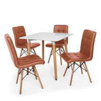 Kit Mesa Jantar Eiffel 80x80 Branca + 04 Cadeiras Gomos - Marrom