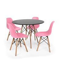 Kit Mesa Jantar Eiffel 100cm Preta + 04 Cadeiras Charles Eames - Rosa