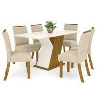 Conjunto Sala De Jantar Mesa 160cm Tampo Mdf 6 Cadeiras Juanita Casa 812