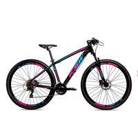 Bicicleta Alumínio Aro 29 Ksw 24 Velocidades Freio  Hidráulico Krw17 - 21´´ - Preto/azul E Rosa