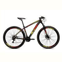 Bicicleta Alum 29 Ksw Cambios Gta 24 Vel A Disco Ltx - 17´´ - Preto/amarelo E Vermelho