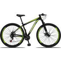 Bicicleta Aro 29 Dropp Aluminum 21v Suspensão, Freio A Disco - Preto/amarelo E Branco - 17