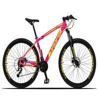 Bicicleta Aro 29 Dropp Z3x 27v Suspensão E Freio Hidraulico - Rosa/amarelo - 21´´ - 21´´