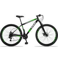 Bicicleta Aro 29 Gt Sprint Mx1. 21v Freio Disco E Suspensão - Preto/verde E Branco - 19''
