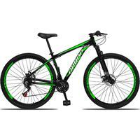 Bicicleta Aro 29 Dropp Aluminum 21v Suspensão, Freio A Disco - Preto/verde E Branco - 21''