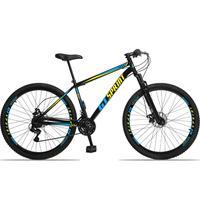 Bicicleta Aro 29 Gt Sprint Mx1. 21v Freio Disco E Suspensão - Preto/azul E Amarelo - 17´´ - 17´´