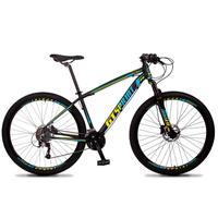 Bicicleta Aro 29 Gt Sprint Volcon 21v Suspensão, Freio Disco - Preto/azul E Amarelo - 21´´ - 21´´