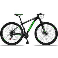 Bicicleta Aro 29 Spaceline Orion 21v Suspensão Freio A Disco - Preto/verde E Cinza - 15´´ - 15´´