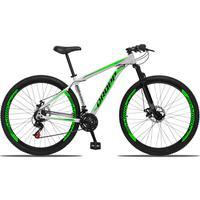 Bicicleta Aro 29 Dropp Aluminum 21v Suspensão, Freio A Disco - Branco/verde E Preto - 15