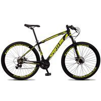 Bicicleta Aro 29 Spaceline Vega 21v Suspensão E Freio Disco - Preto/amarelo - 17''