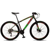 Bicicleta Aro 29 Gt Sprint Volcon 21v Suspensão, Freio Disco - Preto/vermelho E Verde - 17''