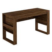 Mesa Para Escritório C/ Porta Objetos Me4146-tecno Mobili - Nogal / Preto