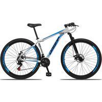Bicicleta Aro 29 Dropp Aluminum 21v Suspensão, Freio A Disco - Branco/azul E Preto - 21