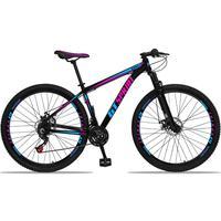 Bicicleta Aro 29 Gt Sprint Mx1 21v Suspensão E Freio A Disco - Preto/azul E Rosa - 17