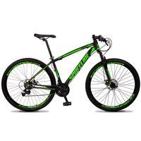 Bicicleta Aro 29 Spaceline Vega 21v Suspensão E Freio Disco - Preto/verde - 21
