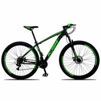Bicicleta Aro 29 Ksw Xlt 24 Marchas Shimano E Freios A Disco - Preto/verde - 21´´ - 21´´ - Preto/verde