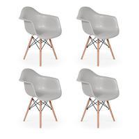 Conjunto 04 Cadeiras Charles Eames Wood Daw Com Braços Design - Cinza