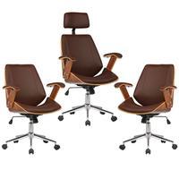 Kit 03 Cadeiras De Escritório Presidente e Diretor, Pu Sintético Marrom - Gran Belo