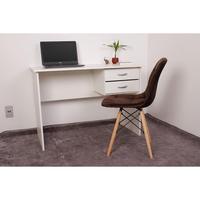 Kit Escrivaninha Com Gaveteiro Branca e 01 Cadeira Botonê Veludo - Marrom