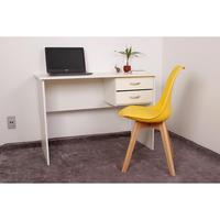Kit Escrivaninha Com Gaveteiro Branca e 01 Cadeira Leda - Amarela