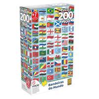Quebra Cabeça 200 Peças Bandeiras Do Mundo