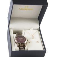 Kit Relógio Feminino Champion Cn26279i Analogico - Marrom