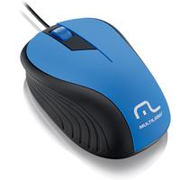 Mouse Óptico Multilaser Emborrachado Azul E Preto - Mo226