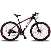 """Bicicleta Aro 29 Ksw 24 Marchas Freios A Disco E Trava Cor: Preto/Vermelho E Branco, Tamanho Do Quadro:21"""" - 21"""""""