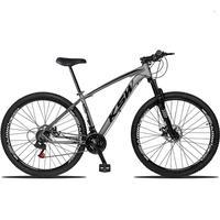 Bicicleta Aro 29 Ksw 24 Marchas Freios A Disco C/trava E K7 Cor:grafite/preto tamanho Do Quadro: 19pol - 19pol
