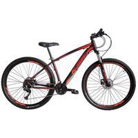 """Bicicleta Aro 29 Ksw 24 Marchas Freio Hidraulico, Trava E K7 Cor: Preto/Laranja E Vermelho, Tamanho Do Quadro:17"""" - 17"""""""