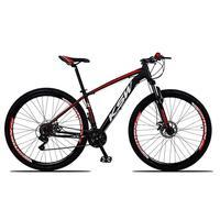 Bicicleta Aro 29 Ksw 24 Vel Shimano Freios Disco E Trava/k7 Cor: preto/vermelho E Branco tamanho Do Quadro:17  - 17
