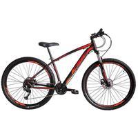 Bicicleta Aro 29 Ksw 24 Marchas Freios A Disco E Suspensão Cor: preto/laranja E Vermelho tamanho Do Quadro:17  - 17