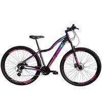 Bicicleta Aro 29 Ksw 24 Marchas Freios A Disco E Suspensão Cor: preto/rosa E Azul tamanho Do Quadro:15  - 15