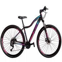 """Bicicleta Aro 29 Ksw 21 Marchas Shimano Freios Disco E Trava Cor:preto/rosa E Azultamanho Do Quadro:15"""" - 15"""""""