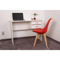 Kit Escrivaninha Com Gaveteiro Branca + 01 Cadeira Leda - Vermelha