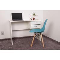 Kit Escrivaninha Com Gaveteiro Branca + 01 Cadeira Charles Eames - Turquesa