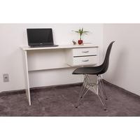 Kit Escrivaninha Com Gaveteiro Branca + 01 Cadeira Eiffel Base Metal - Preta