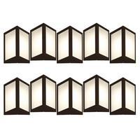 Luminária De Parede Triangular Marrom Kit Com 10